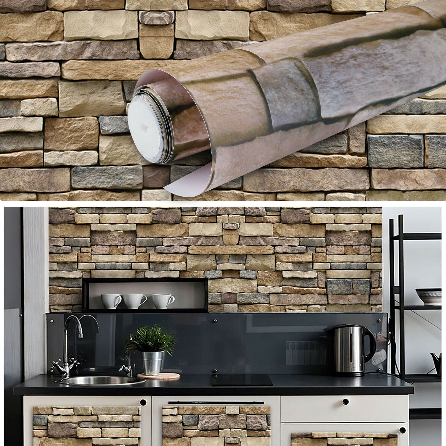 9.8ft*17in 3D Brick Stone Contact Paper Self Adhesive Wallpaper Roll Peel Stick Building & Hardware