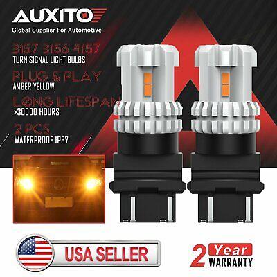 2x AUXITO 3157 3156 4157 LED Amber Yellow Turn Signal Brake Tail Light Bulbs