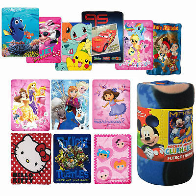 Disney KIDS THROW BLANKET MICKEY MINNIE PRINCESS CARS SPIDER-MAN TROLLS POKEMON Princess Throw Blanket