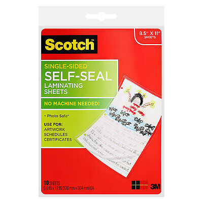 Scotch Single-sided Self-seal Laminating Sheets 6.0 Mil 8-12 X 11 10pack