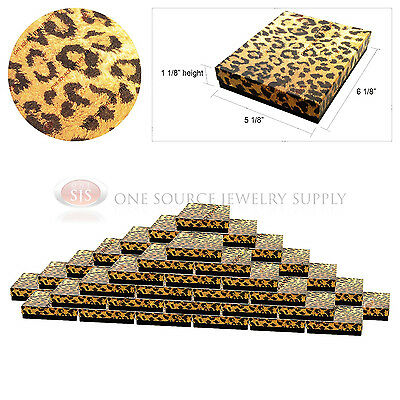 50 Leopard Print Gift Jewelry Cotton Filled Boxes 6 18 X 5 18 X 1 18
