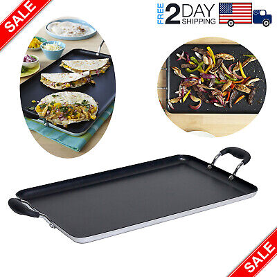 Double Burner Non-stick Griddle Comal Healthy Cooking Handle Home 17inch