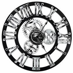 Antique Vintage 16 Round Wall Clock, Wooden Handmade 3D Gear Design