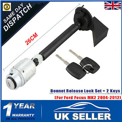 Bonnet Release Lock Latch 2Key 1343577 For FORD FOCUS MK2 Repair Set Kit 04-12