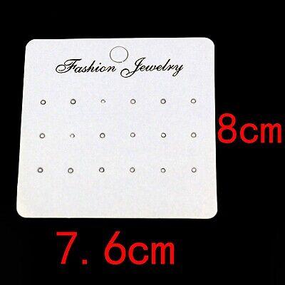 7.6x8cm Earring Display Cards Luxury Embossed White Pearl Cardstuds 20 Pack