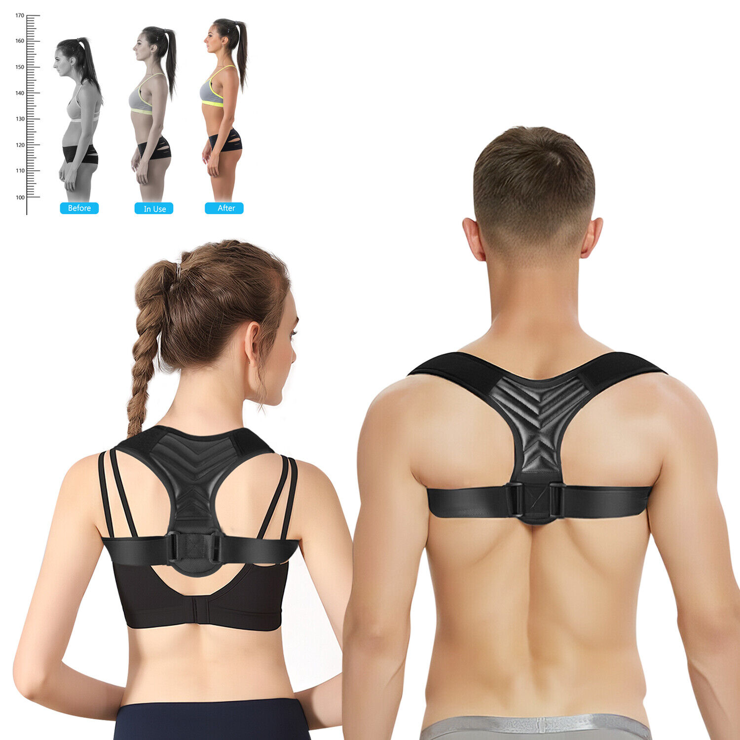 Adjustable Posture Corrector Back Strong Shoulder Support Brace Belt  Men Women Health & Beauty