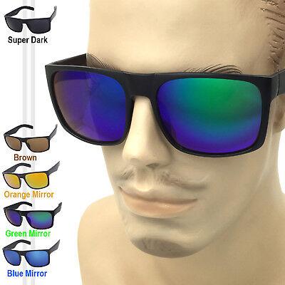 Large Wide Men Matte Square Retro Sunglasses Black Frame Color Mirror Dark (Large Retro Mirror)