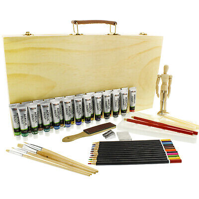 US Art Supply 50-Piece Acrylic Painting Set with, Wood Stora