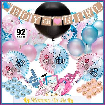 Gender Reveal Party Supplies,  Baby Shower Boy or Girl Reveal Kit (92 Pieces) - Boy Baby Shower Kits