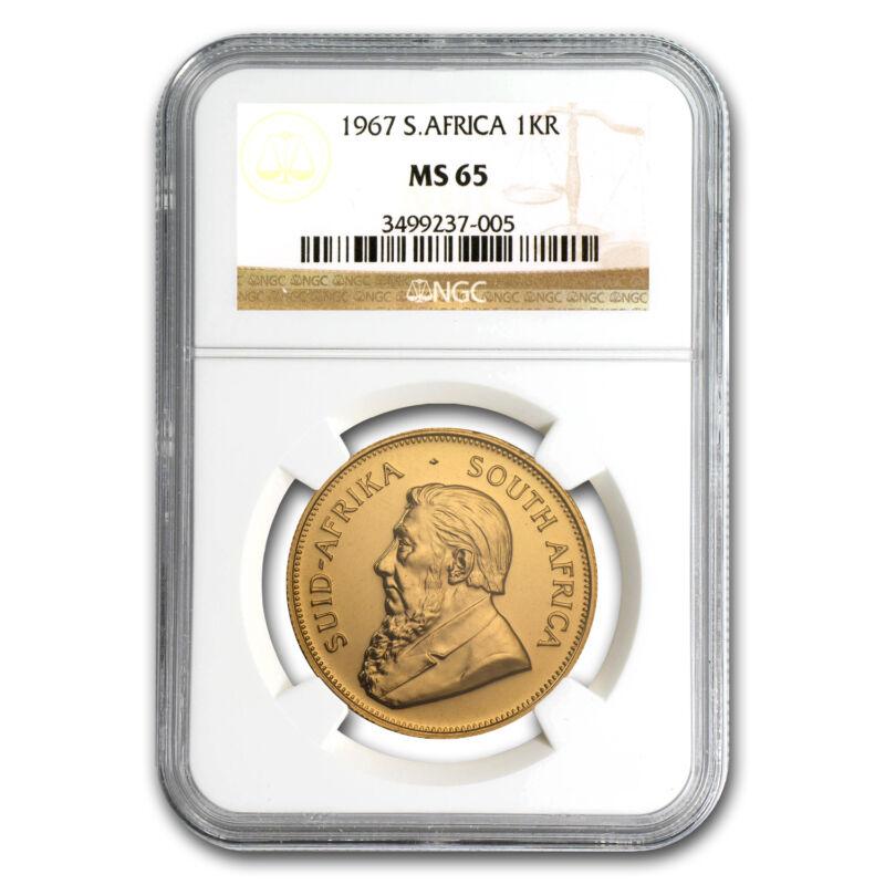 1967 South Africa 1 Oz Gold Krugerrand Ms-65 Ngc - Sku #69898