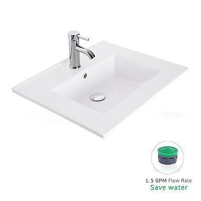 """24"""" Drop in Rectangle 1.5 GPM Bathroom White Ceramic Sink Faucet Pop Up Drain"""