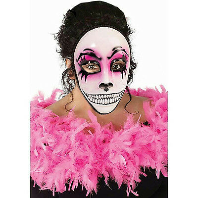 Day Of The Dead Face Mask (Women's Day of the Dead Pink Masquerade Venetian Skull Face)