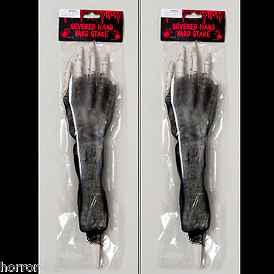 2-Pcs Skeleton Arm Body Parts BLOODY HORROR HAND LAWN STAKES SET Prop - Skeleton Parts Halloween