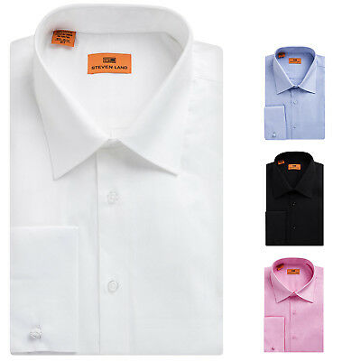 Steven Land Men's Cotton French Cuff Regular, Big & Tall Fit Dress Shirt Big And Tall French Cuff Dress Shirts