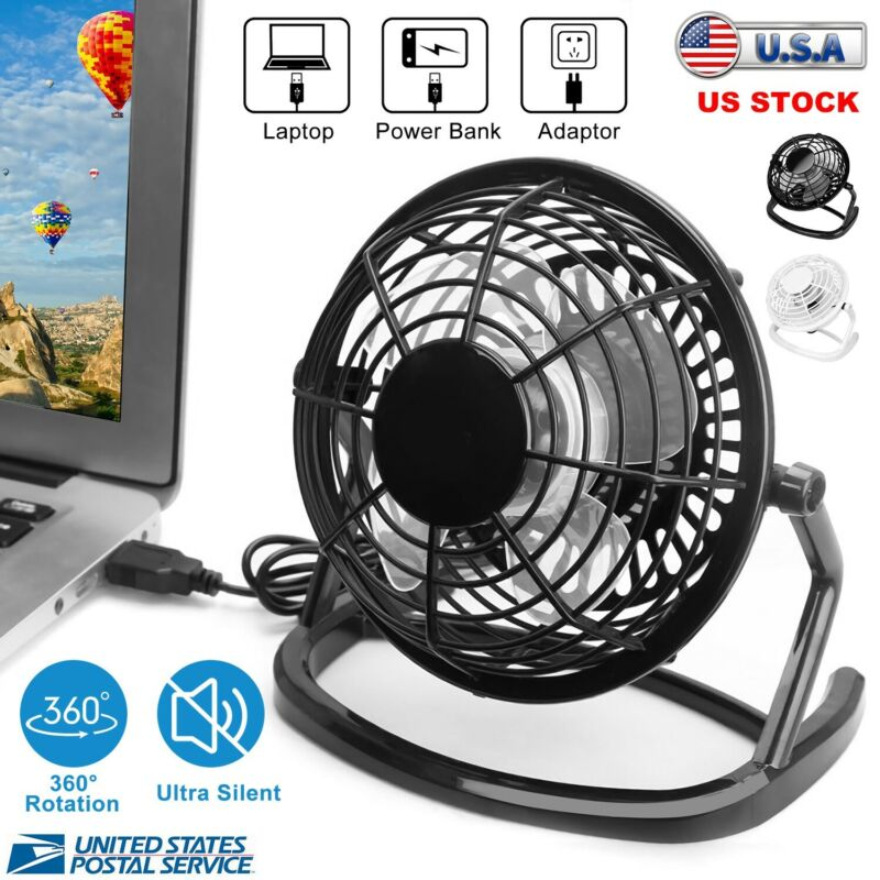 Desk Table Fan Personal USB Small Air Circulator Quiet Mini Portable Retro Black