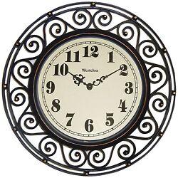 Large Clock Silent Modern Quartz Design Indoor/Outdoor Bronze New
