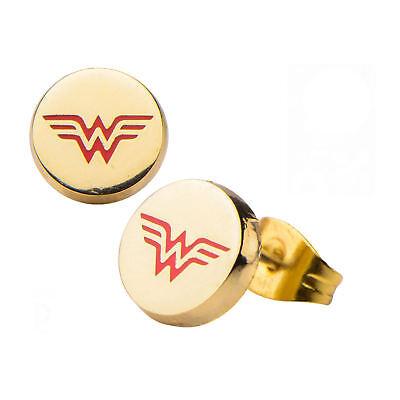 DC Comics Wonder Woman Logo Gold Plated Stud (Wonder Woman Stud Earrings)