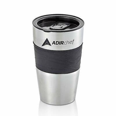 AdirChef Black Stainless Steel 15oz Insulated Tumbler Travel Coffee Mug