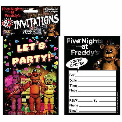 Five Nights at Freddy's Game Halloween Birthday Party Invitations w/Envelopes - Halloween At Freddy's Game