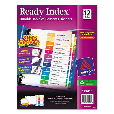 Lot Of 3 Avery Ave11141 Index Table Of Contents Tabs Reference Free Shipping