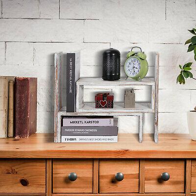 Desk Counter Top Wood Bookcase Shelf Rack Storage Organizer Adjustable Office