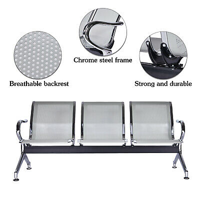 3-seat Waiting Room Chair Office Reception Airport Clinic Guest Bench Silver