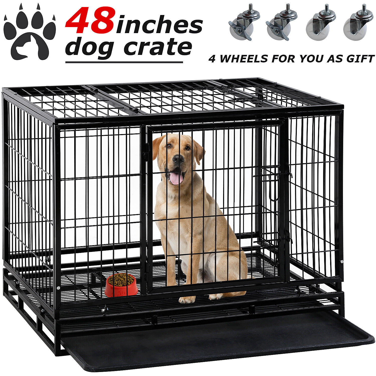 Dog Crate Cage 36″/42″/48″ Dog Kennel Pet Playpen Plastic Tray Double Doors Cages & Crates