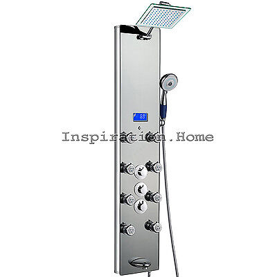 "52"" Tempered Mirror Mirror Shower Panel Multi-Function Massage Jet Tower System"