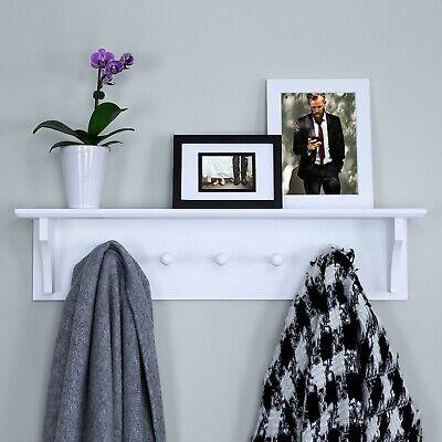 White Floating Wall Shelf Coat Rack Entryway Bathroom Storage Display Kitchen  ()
