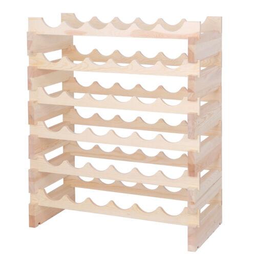 36 Bottles Holder Wine Rack Stackable Storage 6 Tier Solid Wood Display Shelves Bar Tools & Accessories