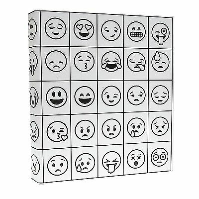 Aurora Coloring 3-ring Binder 1-inch 11 X 8.5 Emoji Design Pack Of 3 Binder