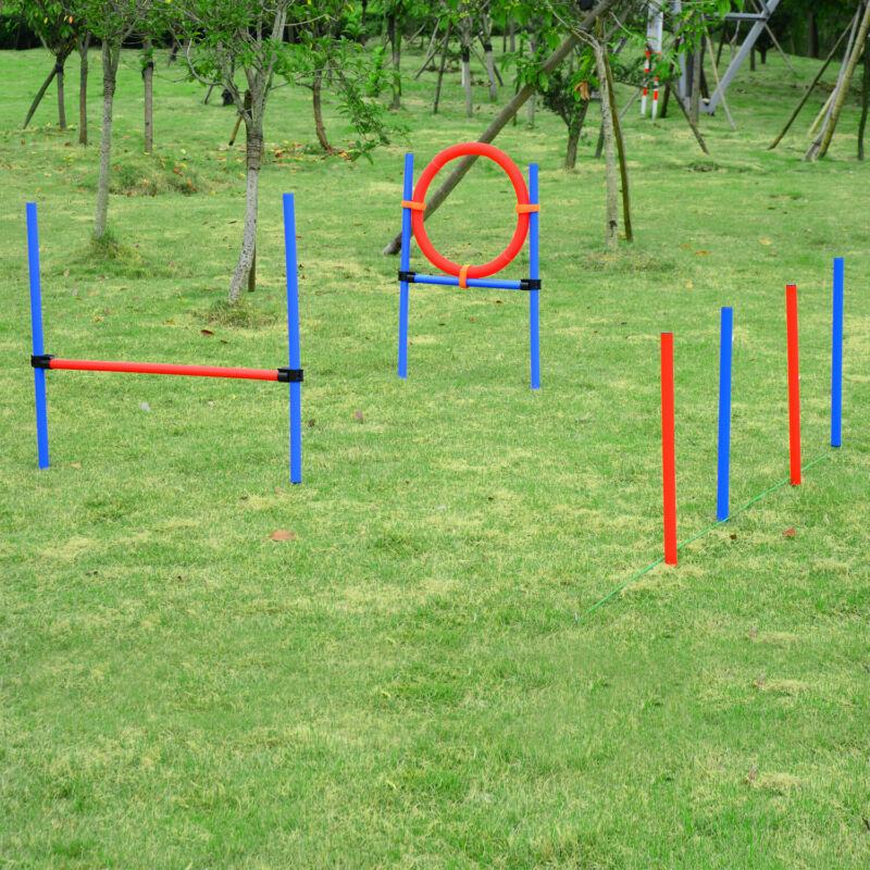 PawHut Pet Agility Set Training Dogs Outward Outdoor Play Hurdle Jump Hoop Pole