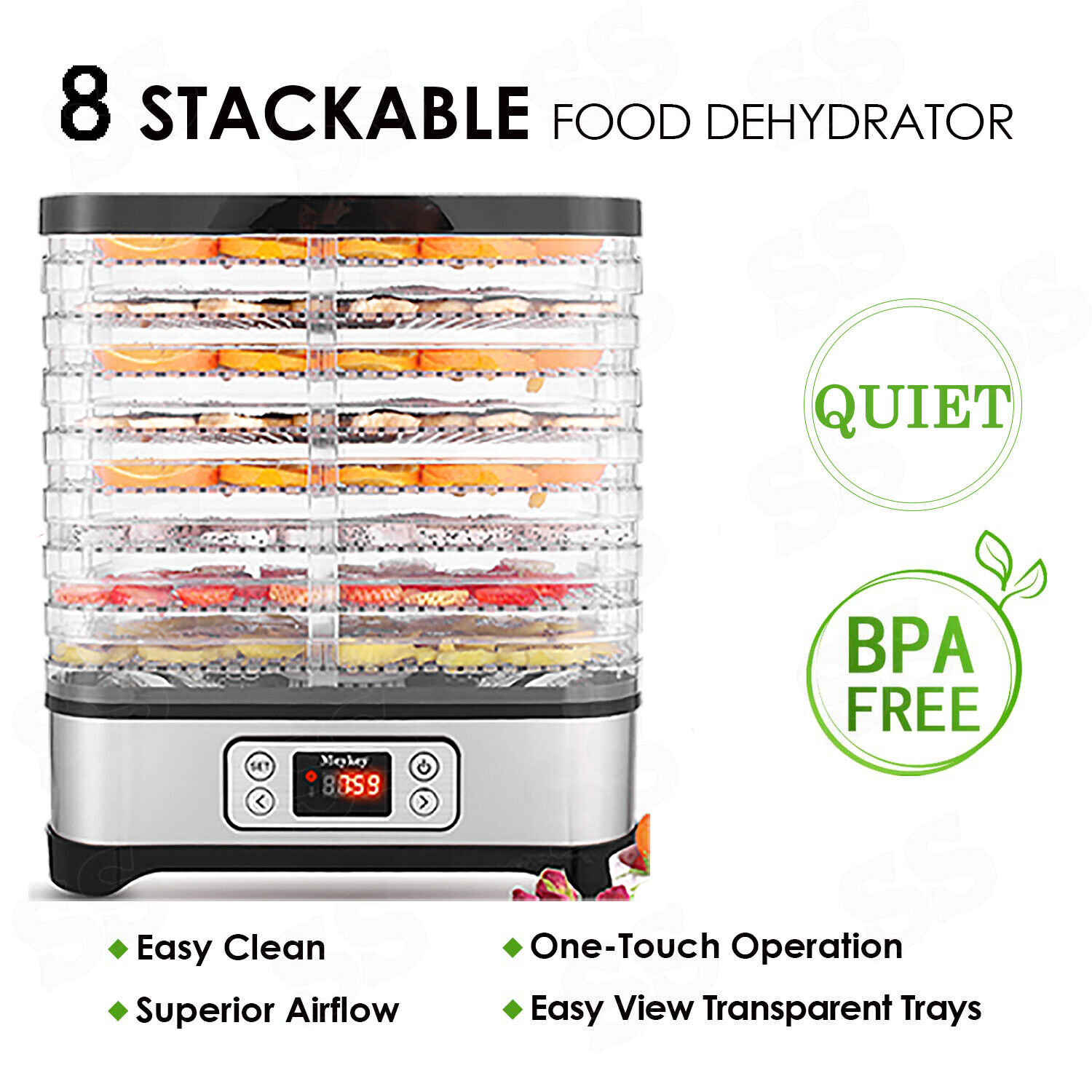 400w electric food dehydrator 8 tray stackable