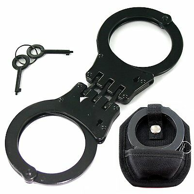 Professional Police Style Black Hinged Double Lock Handcuff w/ Key & Case
