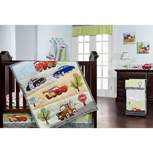 disney cars jr junction 5 piece crib bedding set brand new