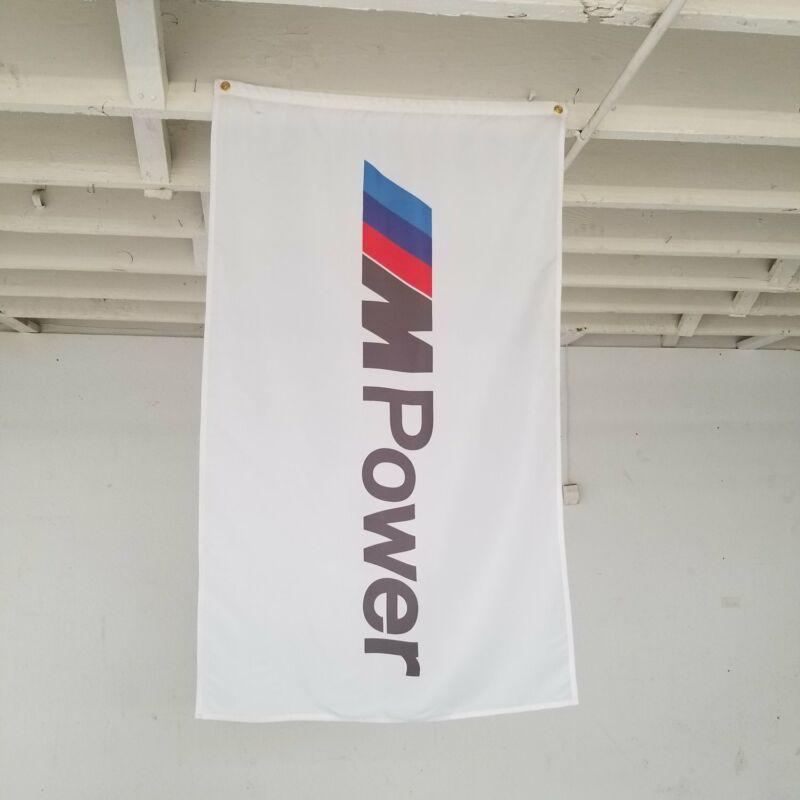 BMW M Power White Dealer Display Banner Motorsport Flag e36 gmbh m5 gtr 3.2l e93