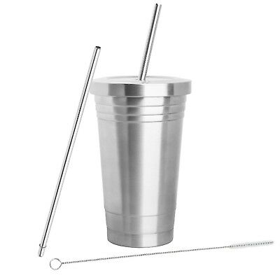 STAINLESS STEEL TUMBLER (16oz) with 2 Stainless Steel Straws, Cleaning Brush ... - Stainless Steel Tumbler With Straw