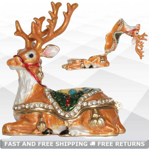 Reindeer Trinket Jewelry Box With Hinged Lid Enamel Jeweled Crystals Collectible