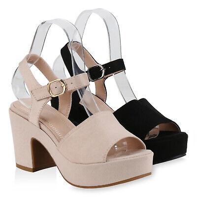 Damen Plateau Sandaletten Chunky High Heels Sandalen Party 831124 Schuhe Schuhe Chunky Heel