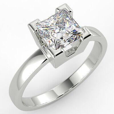 1.15 Ct Princess Cut VS1/G Solitaire Diamond Engagement Ring 14K White Gold