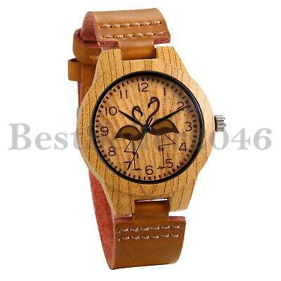 Women Genuine Leather Band Faux Wooden Flamingo Dial Analog Quartz Wrist Watch