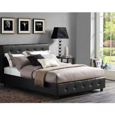 Bedroom Set Twin Size Black Modern Design Leather Furniture 2 Nightstand Tables