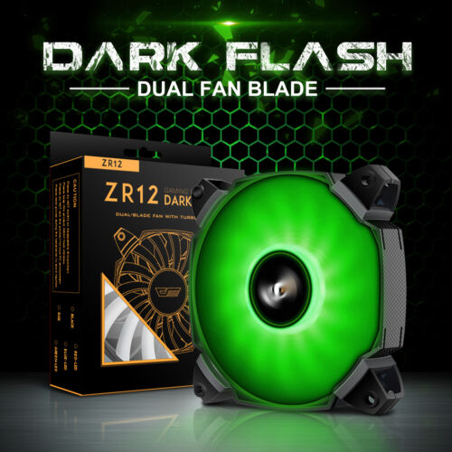 darkFlash 120mm Dual Blade GREEN LED Computer PC CPU Cooler Case Cooling Fan