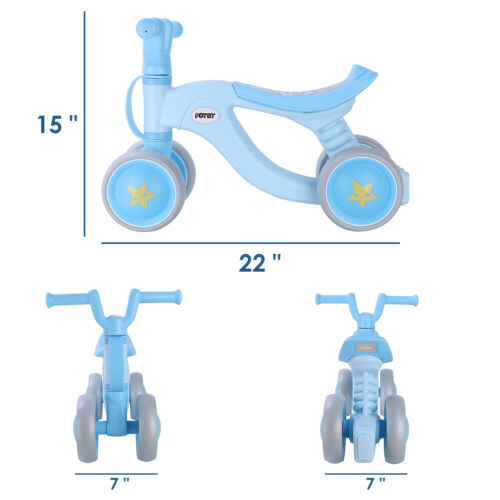 Baby Balance Bike Kid Toy Indoor Outdoor Boys Girls Gift Blu