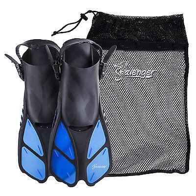 Kids Snorkel Sets - Seavenger Snorkel Swimming Training Fins Mesh Bag Set Combo Adult Kids Blue