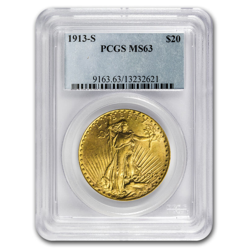 1913-s $20 Saint-gaudens Gold Double Eagle Ms-63 Pcgs - Sku #70062
