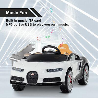 Electric 12V Kids Licensed Bugatti Chiron Ride On Car w/RC LED Light Music White