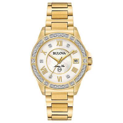Bulova Marine Star Women's 98R235 Quartz Diamond Accents Gold-Tone 32mm Watch