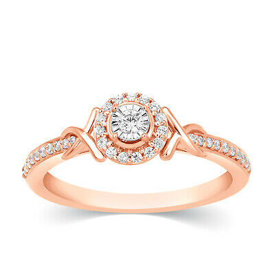 Womens Solid 14k Rose Gold Natural Diamond Engagement Halo Promise Ring 1/4 Ct