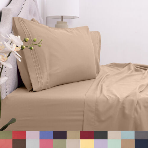 1800 Count 4 Piece Microfiber Sheet Set RV Short Queen Asst Colors Bedding